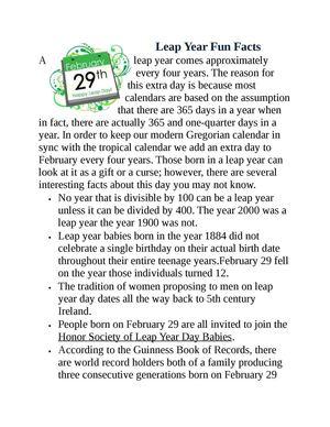 Calaméo - Leap Year Fun Facts