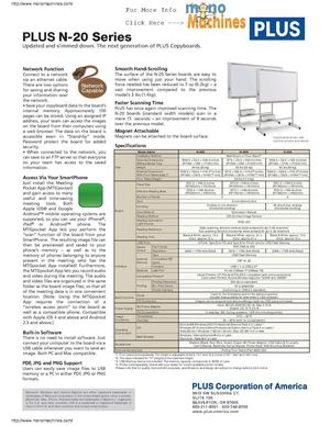Plus N-20S Standard Electronic Copyboard Spec Sheet