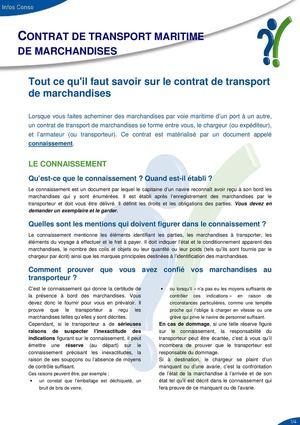 Calameo Contrat De Transport Maritime De Marchandises