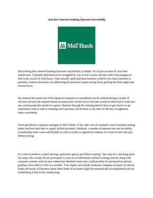 Just how M&T Bank Online Banking Operates