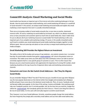 Analysis Email Marketing and Social Media