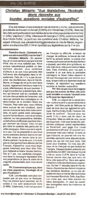 interview Christian Metairie 1ere heure 03_05_12