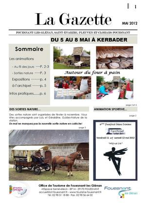 Gazette des animations du mois de Mai 2012
