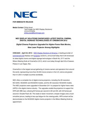 NEC DISPLAY SOLUTIONS SHOWCASES LATEST DIGITAL CINEMA, DIGITAL SIGNAGE TECHNOLOGIES AT CINEMACON 2012