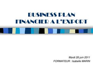 BUSINESS PLAN FINANCIER A L'EXPORT