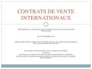 CONTRATS DE VENTE INTERNATIONAUX