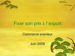 Fixer son prix à l'export