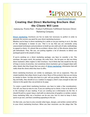 Creating that Direct Marketing Brochure that the Clients Will Love