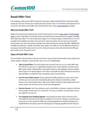 Email Offer Test