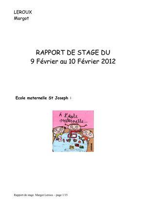 rapport de stage 3eme ecole maternelle