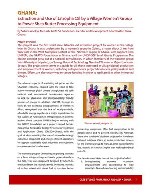 Extraction and Use of Jatropha Oil by a Village Women's Group to Power Shea Butter Processing Equipment