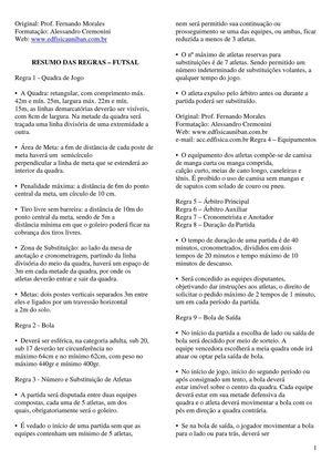 2321534ddf98a Calaméo - Resumo das Regras Oficiais Do Futsal