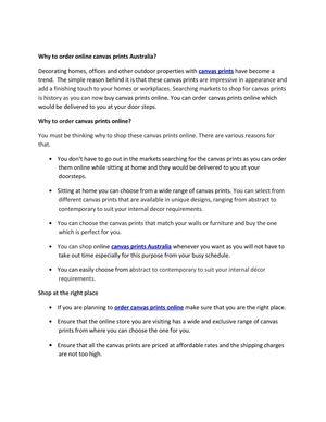 Calaméo - Why to order online canvas prints Australia?