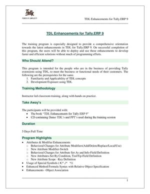 Calaméo - TDL Enhancements Tally ERP 9-Program Write Up | Tally