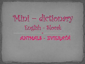 Mini - dictionary (ANIMALS)