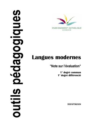 Langues modernes Notes sur l'évaluation 1C 2C