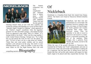 "Booklet ""Biography Of Nickleback"""
