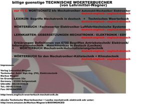 publisher: Verlag Lehrmittel-Wagner: software technical terms / words robots / mechatronics / electronics in german language and dictionary mechanical engineering german-english