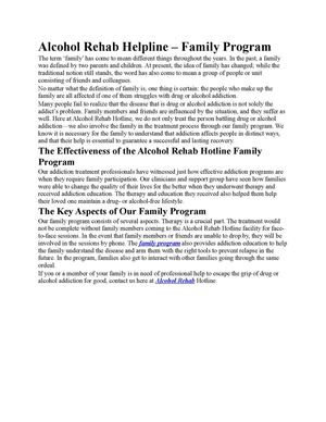 Family Alcohol Rehab Program
