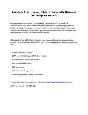 Radiology Transcription - Discover Impeccable Radiology Transcription Services