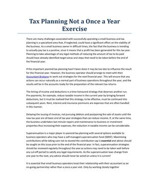 Tax Planning Not a Once a Year Exercise