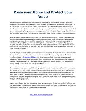 Raise your Home and Protect your Assets