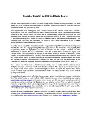 Impact of Google+ on SEO and Social Search