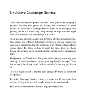 Exclusive Concierge Service