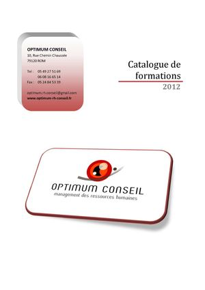 Catalogue de Formation Optimum RH Conseils 2012