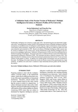 A Validation Study of the Persian Version of Mckenzie's (1999) Multiple Intelligences Inventory to Measure MI Profiles of Pre-University Students