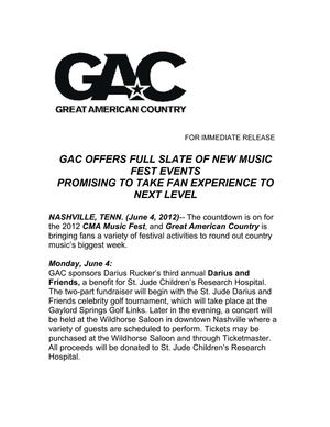 GAC Offers Full Slate of New Music Fest Events