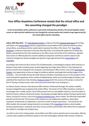 Your Office Anywhere Conference Reveals That The Virtual Office And The Coworking Changed The Paradigm