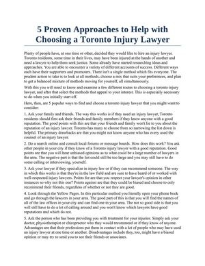5 Proven Approaches to Help with Choosing a Toronto Injury Lawyer