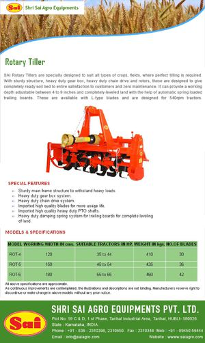 Leading Tractor mounted Rotary Tillers manufacturers and   exporters in India