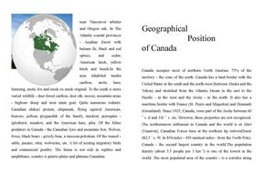 "Booklet ""Geographical position of Canada"""