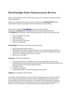 Hard Knight Male Enhancement Review