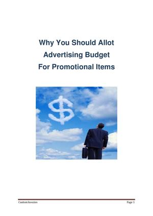 Why You Should Allot Advertising Budget For Promotional Items