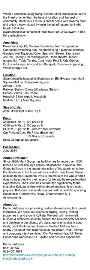 Property on EM Bypass, Swarnamani, Mani Group, Kolkata