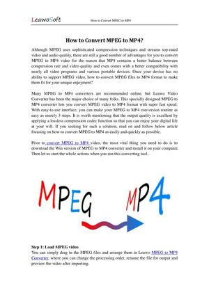 Great Idea to Convert MPEG to MP4