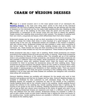 Charm of Wedding dresses