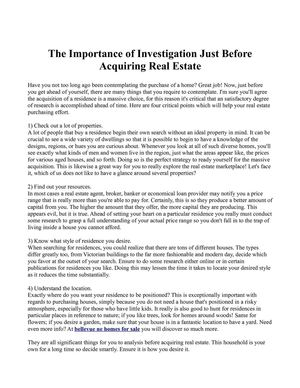 The Importance of Investigation Just Before Acquiring Real Estate