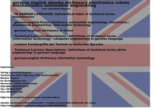lehrmittel-wagner: german-english ebooks dictionary electronics robots mechatronics automobile engineering mechanical engineering of-drives information technology (technical words terms vocabulary)