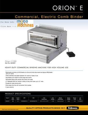 Calaméo - Fellowes Orion™ E 500 Electric Comb Binding