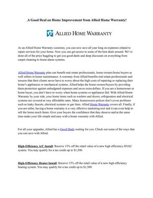 Calameo A Good Deal On Home Improvement From Allied Home Warranty