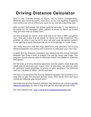 Calaméo Driving Distance Calculator - Route map and distance calculator