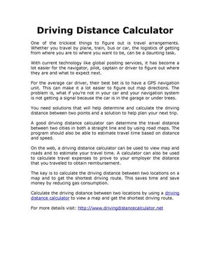 calaméo driving distance calculator