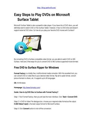 How to Watch DVD Movies on Microsoft Surface Tablet