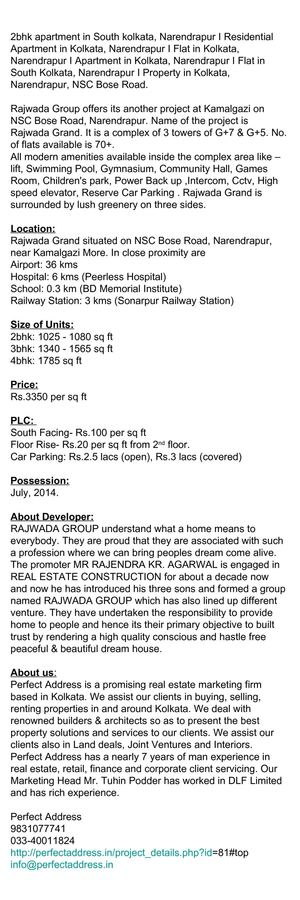 Residential Complex in Narendrapur, Rajwada Grand, Rajwada Group