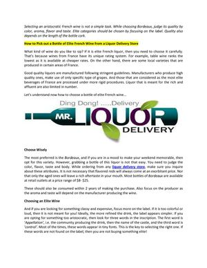 mr.liquordelivery - How to Pick out a Bottle of Elite French Wine from a Liquor Delivery Store