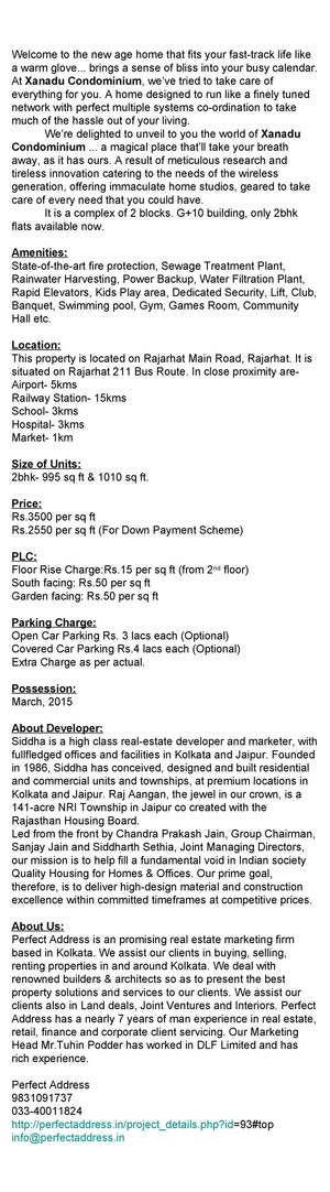 Soft Launch Project in Rajarhat, Xanadu Condominium